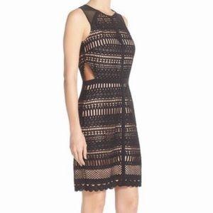 Chelsea28 Black Crochet Cutout Sleeveless Dress